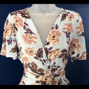 NWOT wrap around high low floral dress